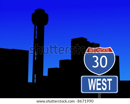 Reunion tower Dallas and interstate 30 sign JPG