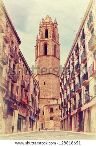REUS, SPAIN - SEPTEMBER 4: Photo in the old colors image style of Monastery of Sant Pere on September 5, 2011 in Reus, Spain. Reus is the city in Catalonia where genius architect Gaudi born - stock photo