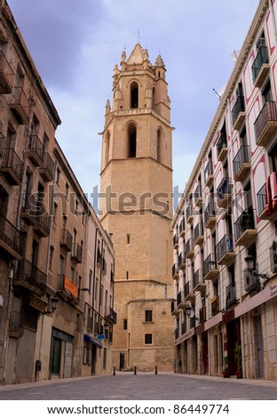 REUS, SPAIN - SEPTEMBER 4: View to Monastery of Sant Pere on September 4, 2011 in Reus, Spain. Reus is the city in Catalonia where architect Antoni Gaudi was born on June 25, 1852. - stock photo