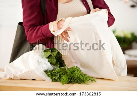 Reusable Bags: Focus on Fabric Bags - stock photo