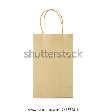 Reusable brown paper bag with loop handles - isolated on white background - stock photo