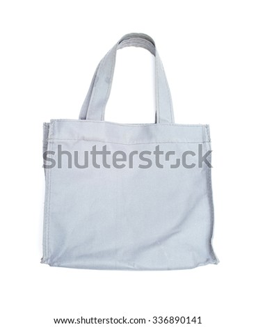 reusable gray polyester bag on white background - stock photo
