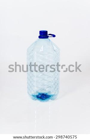 Reusable standard  plastic water bottle on white background - stock photo
