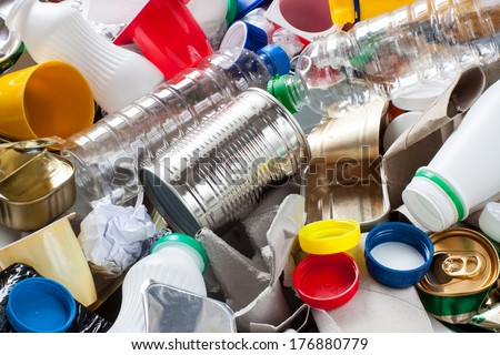 Reusable waste. Metal, plastic, paper and glass before segregation