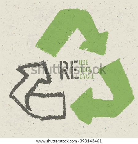"""Reuse conceptual symbol and """"Reuse, Reduce, Recycle"""" text on Recycled Paper Texture. Raster version - stock photo"""