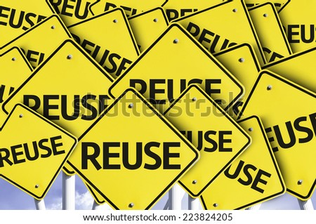Reuse written on multiple road sign - stock photo
