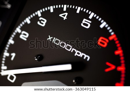 Rev counter of a car .Tachemeter close up.