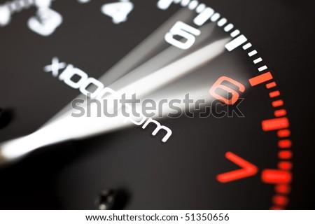 Rev counter of a car .Tachemeter close up. - stock photo