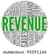 Revenue and sales concept in word tag cloud on white background - stock photo