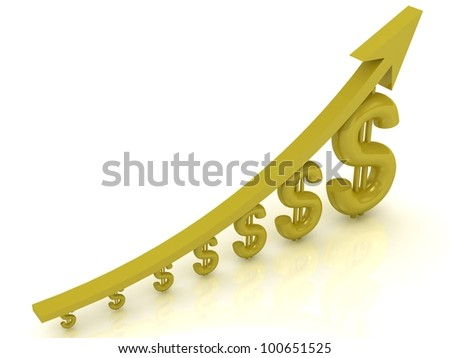 Revenue growth with a golden arrow - stock photo