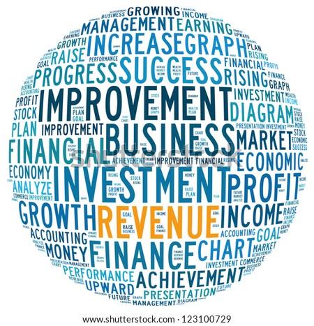 Revenue info-text graphics and arrangement concept (word cloud) - stock photo