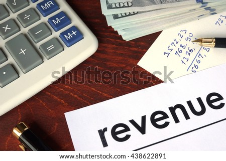 Revenue written on a paper.