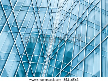 reverberation in modern glass transparent wall of business center