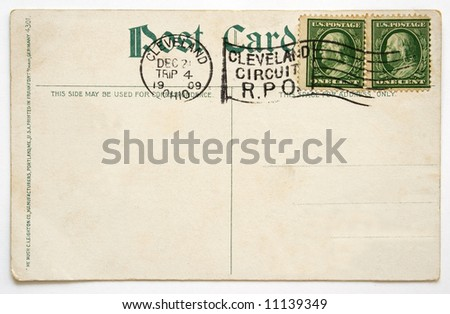 reverse of an old postcard - stock photo