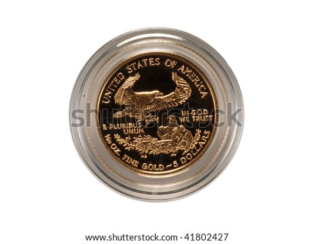 Reverse of gold eagle coin - stock photo