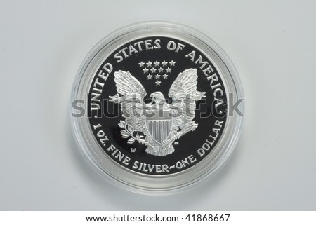 Reverse of Silver Eagle coin - stock photo