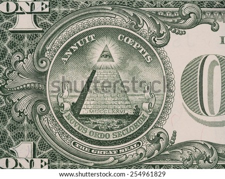 Reverse of US one dollar bill closeup macro, 1 usd banknote, great seal, united states money  - stock photo