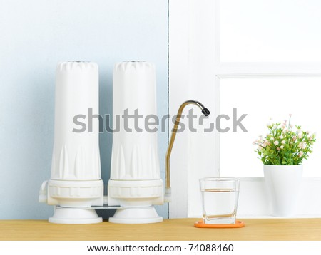 Reverse osmosis filtration to makes purify drinking water - stock photo