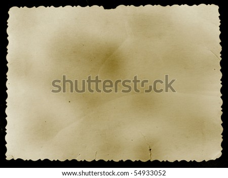 Reverse side of an old photo print with a decorative border, isolated on white background. - stock photo