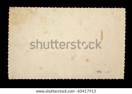 Reverse side of an old photo print with a decorative border. Series - stock photo