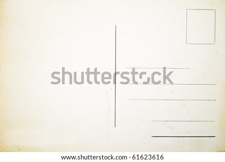 Reverse side of an old postal card - stock photo