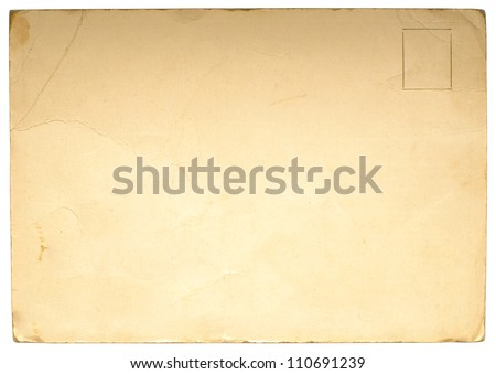 Reverse side of an old postal card isolated on white - stock photo