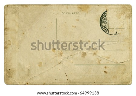 Reverse side of an old postal card over white background - stock photo