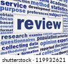 Review creative word clouds background. Data review scientific poster design - stock photo