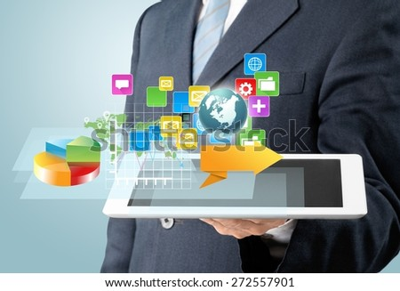 Review. Touch screen ,touch- tablet in hands - stock photo