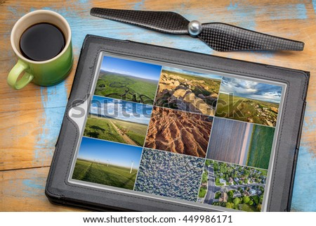 Reviewing and editing aerial pictures on a digital tablet with a cup of coffee - natural, urban and agriculture landscape. All screen pictures copyright by the photographer. - stock photo