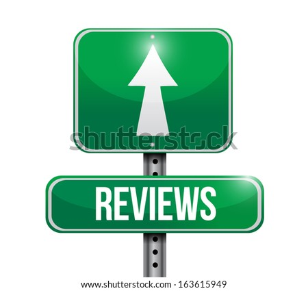 reviews road sign illustration design over a white background