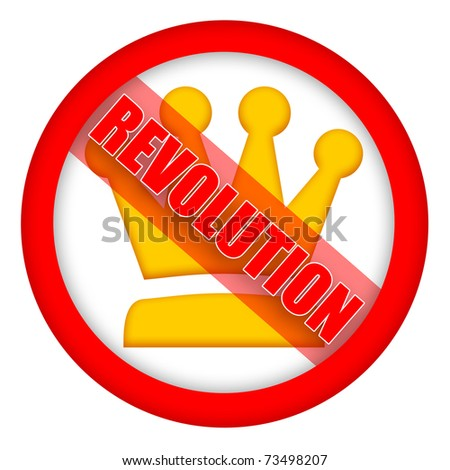 Revolution sign with golden crown isolated over white background - stock photo