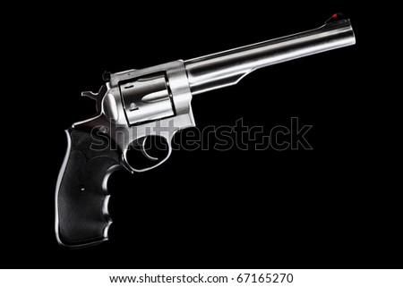 revolver against black background, 44 magnum caliber - stock photo