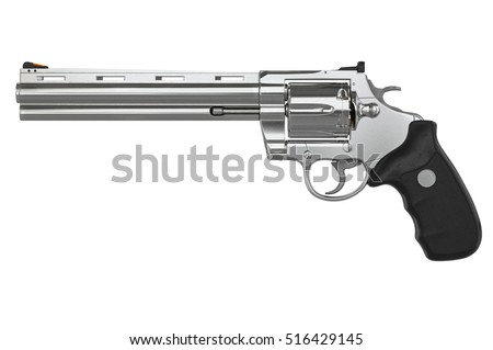 Revolver chrome pistol, side view. 3D graphic