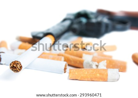 Revolver, cigarettes and cigarette butts isolated on white background. Quit Smoking Now