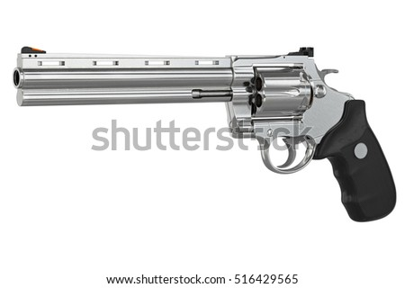 Revolver firearm gun chrome cowboy western. 3D graphic