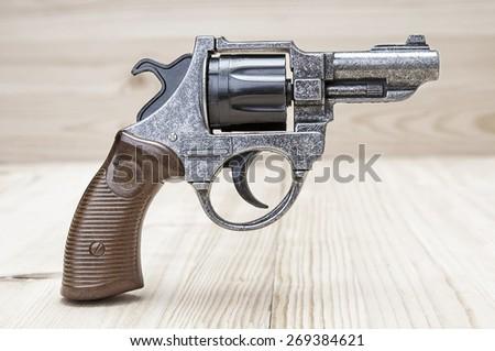 Revolver gun closeup - stock photo