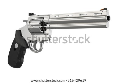 Revolver handgun chrome cowboy equipment. 3D graphic
