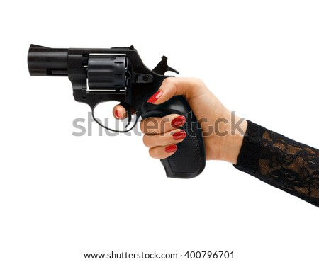 Revolver in hand / studio photography of woman's hand holding handgun - isolated on white background. Business concept - stock photo