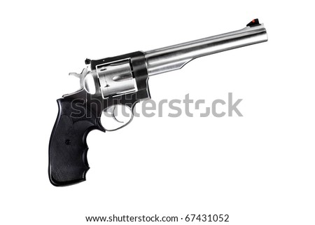 revolver isolated on white, 44 magnum caliber - stock photo