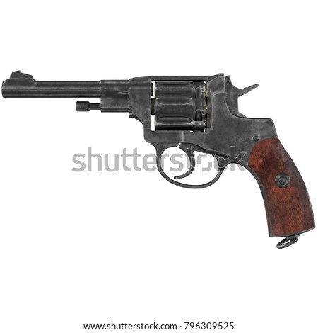 revolver nagant M1895 3d illustration