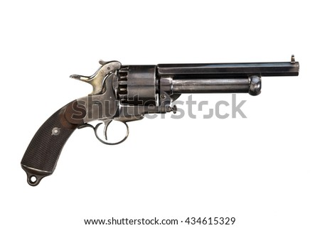 Revolver old antique isolated on white - stock photo