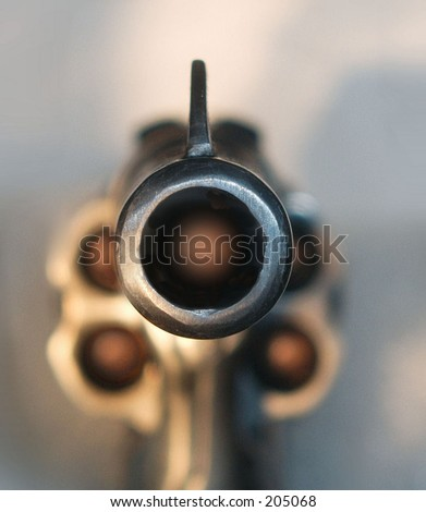 Revolver pointed at the viewer - stock photo