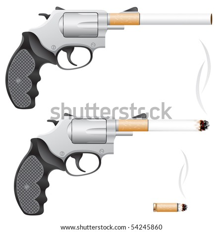 Revolver with a cigarette barrel isolated on white - stock photo