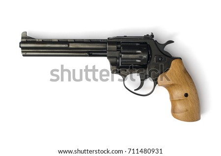 revolver with a wooden handle isolated on a white background