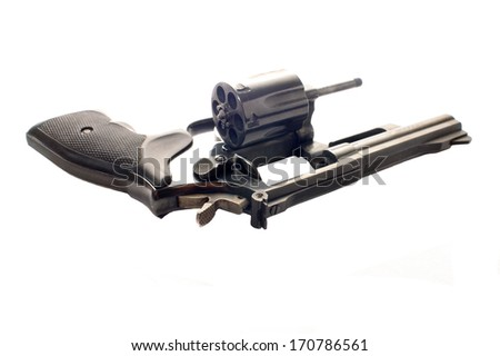 revolver with the cylinder opened to show it is empty, isolated on a white background - stock photo