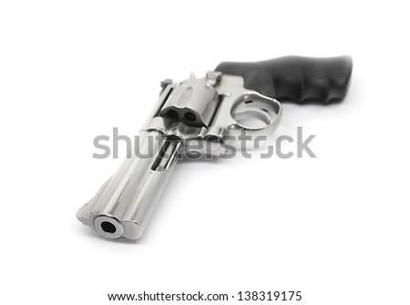 Revolvers gun isolated on white background - stock photo