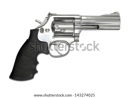 Revolvers isolated on white background - stock photo