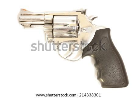 Revolvers on white background. - stock photo