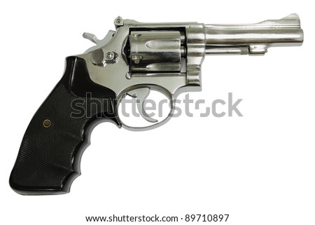 Revolvers on white background - stock photo